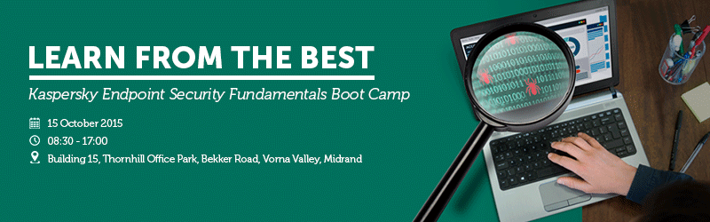 AVeS presents a Kaspersky Endpoint Security Fundamentals Boot Camp on 15 October 2015.