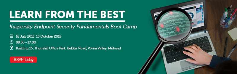AVeS presents Kaspersky Endpoint Security Fundamentals Boot Camps on 16 July 2015 and 15 October 2015. RSVP today.